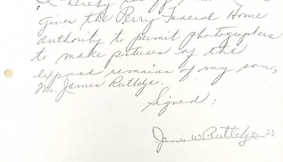 thumbnail of Handwritten Notice of James Rutledge Sr Giving Permission for Photographs of his son's body (C-54)