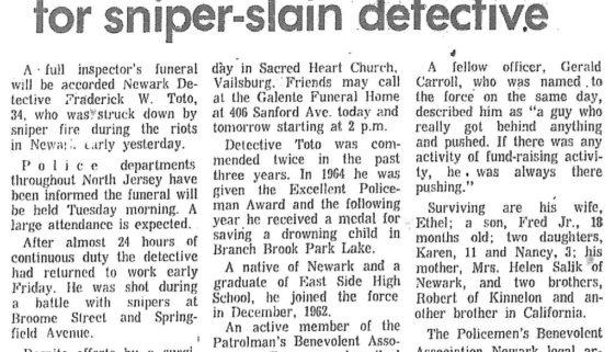 Inspector's funeral planned for sniper-slain detective (Star-Ledger July 16, 1967)
