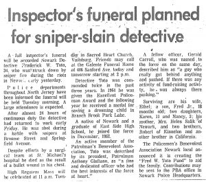 Article from the Star-Ledger on July 16, 1967 covering the funeral planned for Newark Police Detective Frederick Toto. Detective Toto was shot outside of the Scudder Homes project, shortly after police had shot and killed Isaac Harrison and Robert Lee Martin. -- Credit: The Star-Ledger
