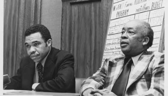 Mayor Ken Gibson and Harry Wheeler at a Meeting