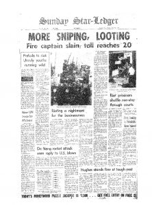 Article from the Star-Ledger on July 16, 1967 covering the shooting of Newark Fire Captain Michael Moran. Moran was shot on July 15th at 500 Central Avenue, just up the street from a National Guard blockade where shooting had broken out minutes earlier. -- Credit: The Star-Ledger