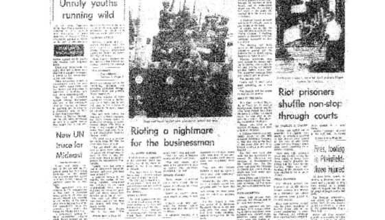 thumbnail of More Sniping, Looting- Fire captain slain, toll reaches 20 (Sunday Star-Ledger, July 16, 1967)