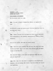 Transcript of an oral history interview with Russell Bingham, conducted by Komozi Woodard on December 4, 1984. --Credit: Komozi Woodard