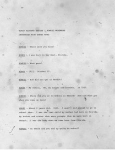 """Transcript of an oral history interview of Eulis """"Honey"""" Ward conducted by Komozi Woodard in 1986. Ward reflects on growing up in Newark, his involvement in city politics, and his experiences with struggles for Black liberation in the city. --Credit: Komozi Woodard"""