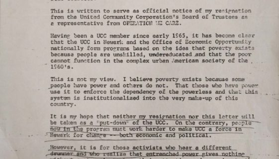 thumbnail of Phil Hutchings Letter of Resignation from UCC (April 15, 1967)