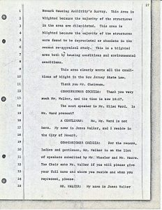 """Transcript of James Walker's comments to the Central Planning Board on June 13, 1967 during the """"blight hearings."""" These public hearings were held to determine if areas in the Central Ward were """"blighted"""" so that the lands could be taken by eminent domain for the construction of the New Jersey College of Medicine and Dentistry. --Credit: Newark Public Library"""