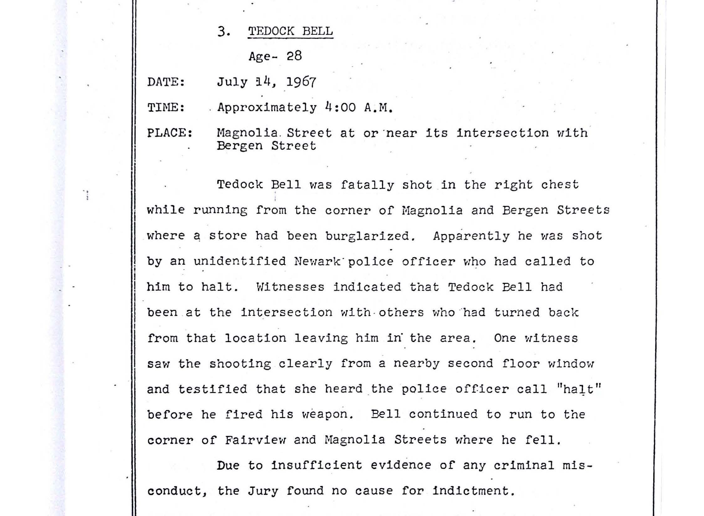 Tedock bell the north newark grand jury report describing the fatal shooting of tedock bell by newark police the grand jury found no cause for indictment newark public library aiddatafo Image collections