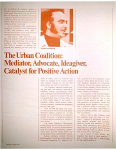 """Reprint of an article from """"Newark! Magazine,"""" featuring the Greater Newark Urban Coalition and highlighting some of the Coalition's various actions and accomplishments. Gustav Heningburg was the first president of this coalition of business, community, and political leaders, and served in that capacity for 12 years."""