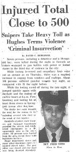 Article from the Newark Evening News on July 15, 1967 covering the shooting of Newark Police Detective Frederick Toto. Detective Toto was shot outside of the Scudder Homes project, shortly after police had shot and killed Isaac Harrison and Robert Lee Martin. -- Credit: Newark Evening News