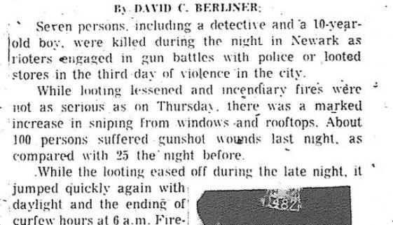 Thumbnail Injured Total Close to 500 (Newark Evening News- July15, 1967)