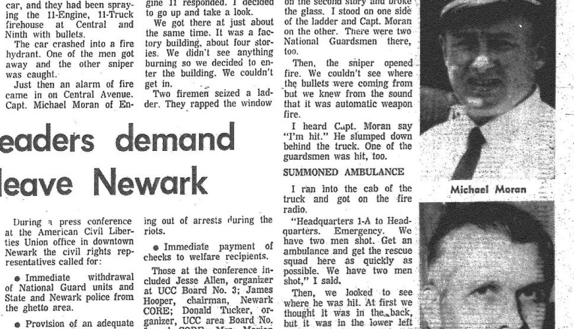 Death of a fireman- we all cried (Star-Ledger July 17, 1967)