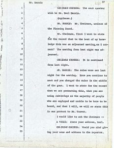 "Transcript of Earl Harris's comments to the Central Planning Board on June 13, 1967 during the ""blight hearings."" These public hearings were held to determine if areas in the Central Ward were ""blighted"" so that the lands could be taken by eminent domain for the construction of the New Jersey College of Medicine and Dentistry. --Credit: Newark Public Library"
