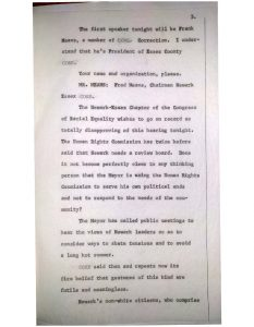 Transcript of statements made by Newark-Essex CORE Chairman Fred Means before hearings of the Newark Human Rights Commission in July, 1965. The Commission held public hearings about a possible police advisory review board after Lester Long, an unarmed Black man, was fatally shot by Newark Policeman Henry Martinez.  -Credit: City of Newark Archives and Records Management Center