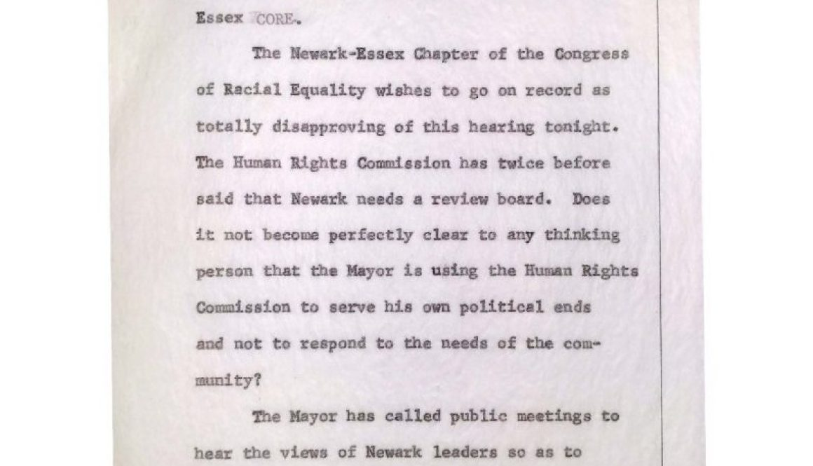 thumbnail of Transcript of Fred Means Statement to Newark Human Rights Commission Hearing on Police Advisory Review Board (July 13, 1965)