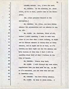 """Transcript of Jesse Allen's statement before the Central Planning Board on June 15, 1967 during one of the Medical School Blight Hearings. These public hearings were held to determine if areas in the Central Ward were """"blighted"""" so that the lands could be taken by eminent domain for the construction of the New Jersey College of Medicine and Dentistry. --Credit: Newark Public Library"""