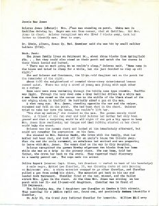 Briefs compiled by William Curry of Newark Legal Services Project, including statements by Dolores Jones, the Washington Post, and Newark Police Captain Zizzo. Curry notes that the Grand Jury indicted Eyvind Lee Chandler for homocide on July 20. -- Credit: Junius Williams Collection