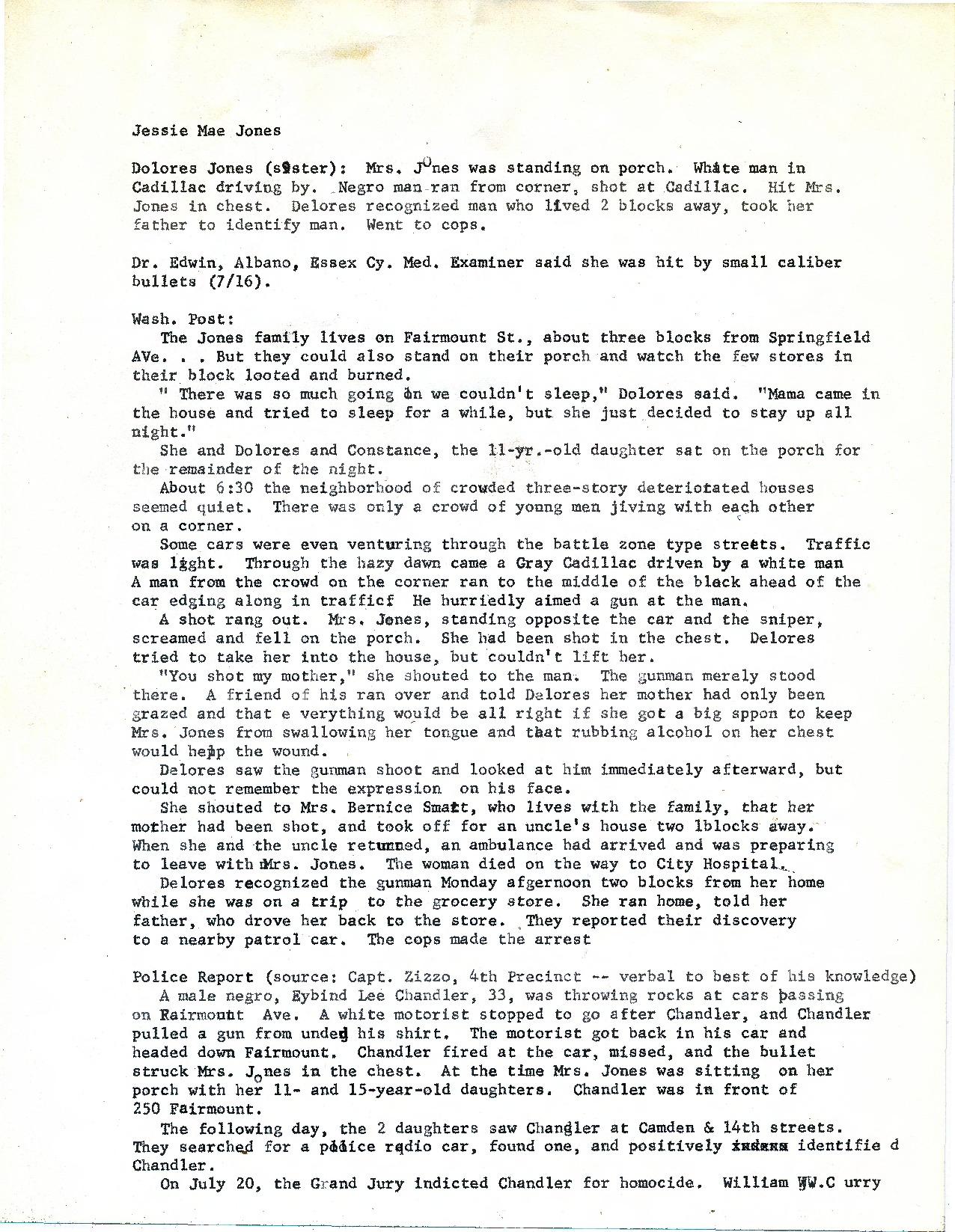 Briefs on Jesse Mae Jones