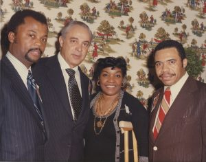 Photograph of William Payne, an unidentified man, Larrie West Stalks, and Ken Gibson in the 1970s. (Newark Public Library)