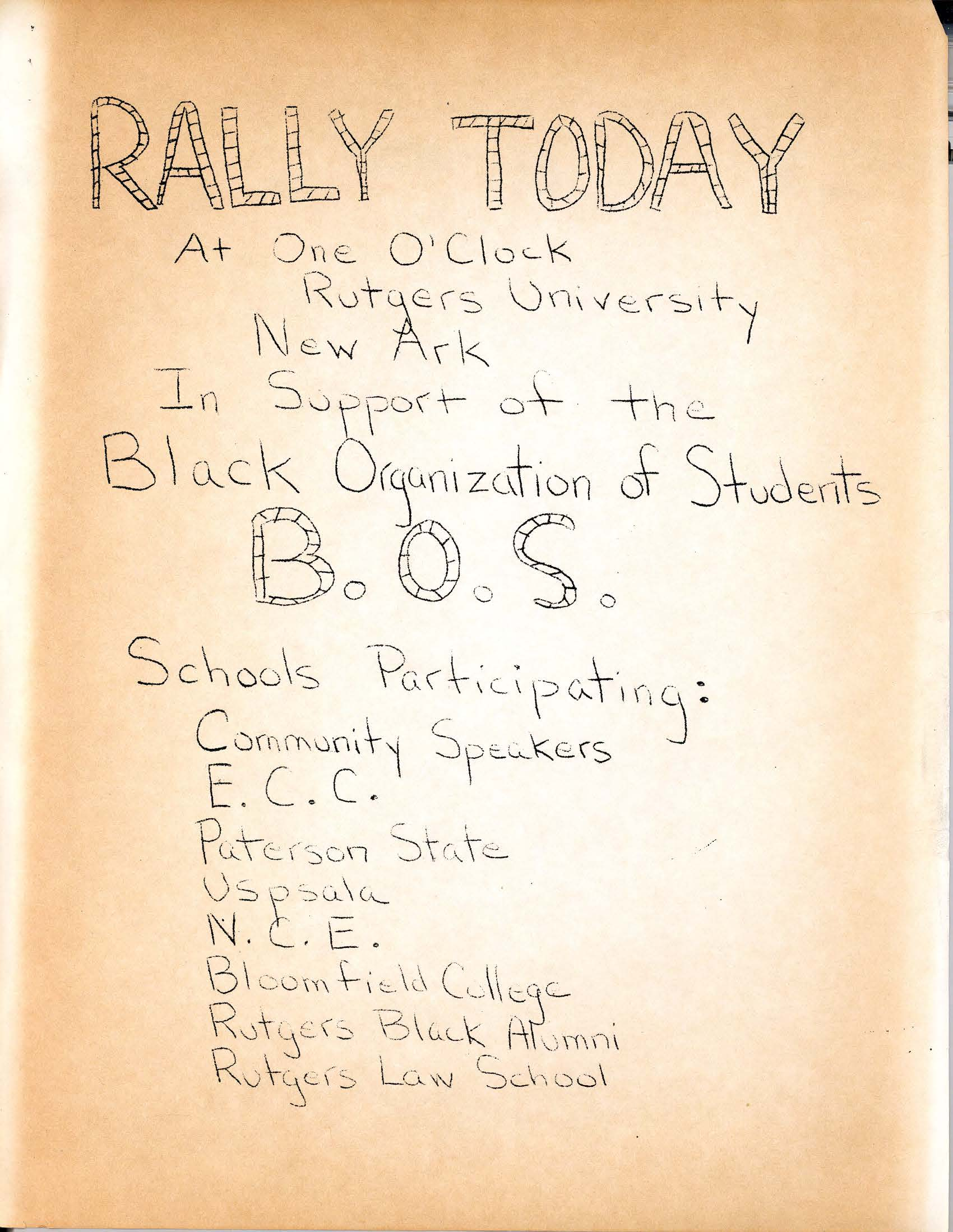 Flyer for BOS Rally