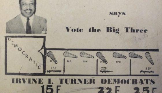 Irvine Turner 1954 Campaign Card