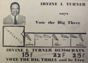 Campaign card distributed during Irvine I. Turner's 1954 City Council campaign. Turner won race in the Central Ward to become Newark's first African American City Councilman. -- Credit: Newark Public Library