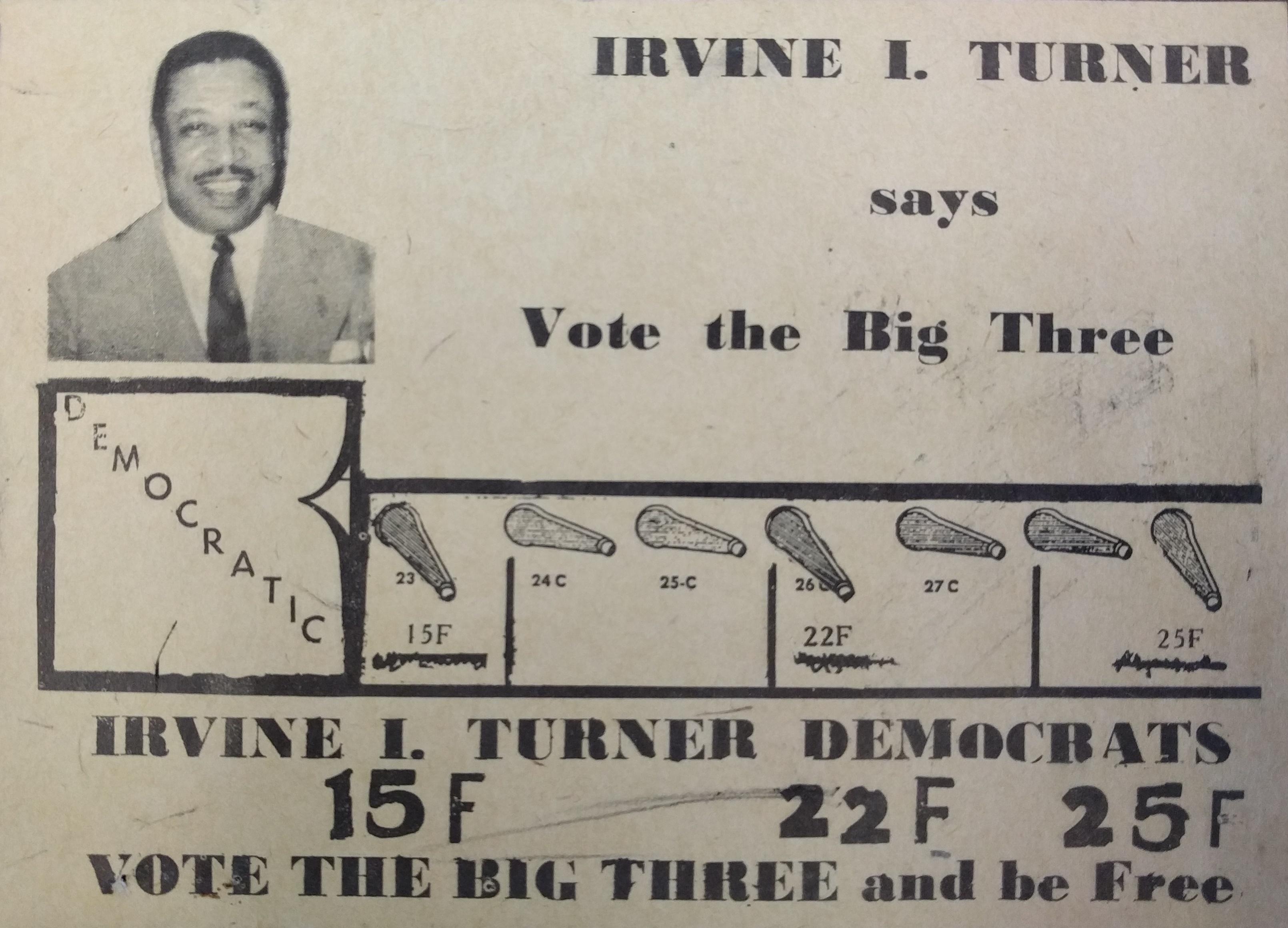 Irvine Turner Campaign Card