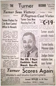 Campaign pamphlet distributed during Irvine I. Turner's successful 1958 campaign for City Council in the Central Ward. Turner was the incumbent in the race, after becoming Newark's first African-American City Councilman in 1954. -- Credit: Newark Public Library