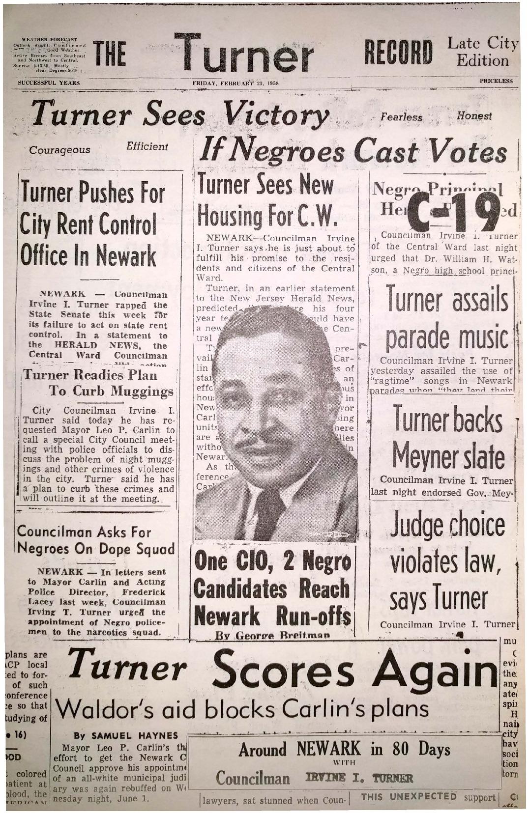 Irvine Turner Campaign Pamphlet (1958)