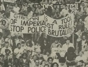 "Photo from the October 1974 edition of the newspaper ""Unity and Struggle,"" of a rally against police brutality and imperialism in September, 1974. --Credit: NYU Tamiment Library"