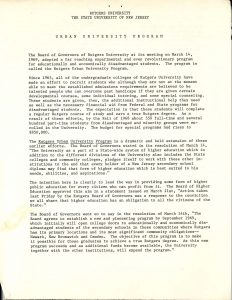 Statement from Rutgers Provost and Vice-President, Richard Schlatter, on the Rutgers Urban University Program. The Board of Governors of Rutgers adopted the program at a meeting on March 14, 1969, in response to the demands of the Black Organization of Students (BOS) for greater recruitment of disadvantaged and minority groups. --Credit: John Cotton Dana Library, Rutgers University-Newark