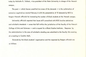 Rutgers Press Release (March 3, 1969)