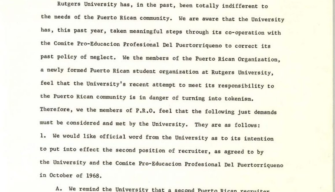 Letter from Puerto Rican Organization to Malcolm Talbott (March 10, 1969)