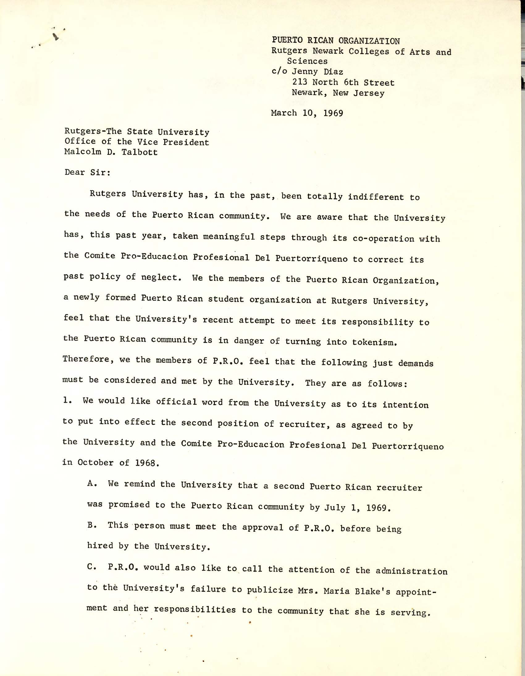Letter from puerto rican organization to malcolm talbott march 10 letter from puerto rican organization to malcolm talbott march 10 1969 the north newark spiritdancerdesigns Gallery