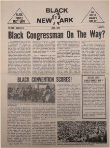 Volume 1, Number 5 of Black NewArk, the local newspaper of the Committee For Unified Newark (CFUN), published in April 1972. Black NewArk was one of several media outlets developed by Amiri Baraka to promote Black cultural nationalism in Newark and the nation. -- Credit: NYU Tamiment Library