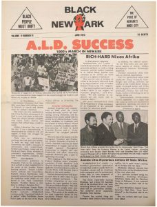 Volume 2, Number 6 of Black NewArk, the local newspaper of the Committee For Unified Newark (CFUN), published in June 1973. Black NewArk was one of several media outlets developed by Amiri Baraka to promote Black cultural nationalism in Newark and the nation. -- Credit: NYU Tamiment Library