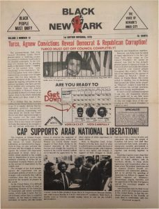 Volume 2, Number 12 of Black NewArk, the local newspaper of the Committee For Unified Newark (CFUN), published in November 1973. Black NewArk was one of several media outlets developed by Amiri Baraka to promote Black cultural nationalism in Newark and the nation. -- Credit: NYU Tamiment Library