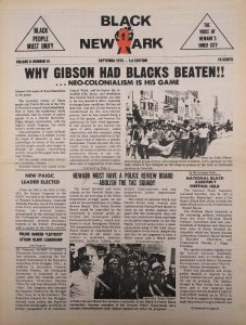 Volume 2, Number 9 of Black NewArk, the local newspaper of the Committee For Unified Newark (CFUN), published in September 1973. Black NewArk was one of several media outlets developed by Amiri Baraka to promote Black cultural nationalism in Newark and the nation. -- Credit: NYU Tamiment Library