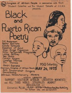 Flyer for a Black and Puerto Rican Poetry event sponsored by the Congress of Afrikan People (CAP) in New York City on May 24, 1975. The Congress of Afrikan People was founded in 1970 as a Pan-African, nationalist organization that promoted black political empowerment, with its headquarters in Newark, NJ. -- Credit: Newark Public Library
