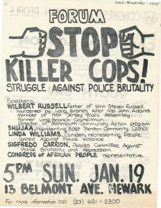 "Flyer for a 1975 forum on the Congress of Afrikan People's ""Stop Killer Cops"" program, which organized Black and Puerto Rican people to resist police brutality. The Congress of Afrikan People was founded in 1970 as a Pan-African, nationalist organization that promoted black political empowerment, with its headquarters in Newark, NJ. -- Credit: Newark Public Library"