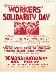 Flyer for a 1975 program, rally, and demonstration to commemorate Workers' Solidarity Day, sponsored by the Congress of Afrikan People.The Congress of Afrikan People was founded in 1970 as a Pan-African, nationalist organization that promoted black political empowerment, with its headquarters in Newark, NJ. -- Credit: Newark Public Library