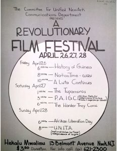 """Flyer for a """"Revolutionary Film Festival"""" sponsored by the Committee For Unified Newark (CFUN) in April 1974. CFUN was a cultural nationalist organization established in 1968 by Amiri Baraka aimed at achieving Black political power in Newark. -- Credit: Newark Public Library"""