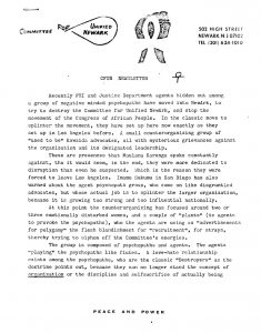"Newsletter from Amiri Baraka and the Committee For Unified Newark (CFUN), on the surveillance and counterintelligence efforts of the FBI and Justice Department to ""destroy"" the organization. CFUN was a cultural nationalist organization established in 1968 by Amiri Baraka aimed at achieving Black political power in Newark. -- Credit: Amiri Baraka Papers, Columbia University Libraries"