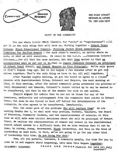 Newsletter from Amiri Baraka and the Committee For Unified Newark (CFUN), covering the recent ouster of the principal and vice principal of the Robert Treat School. CFUN was largely responsible for their removal, and the appointment of black principal Eugene Campbell, who later became the first black superintendent of Newark Public Schools.  -- Credit: Amiri Baraka Papers, Columbia University Libraries
