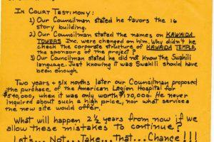 Anthony Carrino Campaign Flyer on Kawaida Towers (1974)