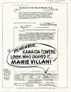 Campaign flyer from the 1978 Newark City Council election, opposing the re-election of Marie Villani, because she voted in favor of the Kawaida Towers housing project in the North Ward. Kawaida Towers, a communal public housing project conceived by Amiri Baraka, was met with fierce opposition in the predominantly white North Ward where it was supposed to be constructed. -- Credit: Newark Public Library