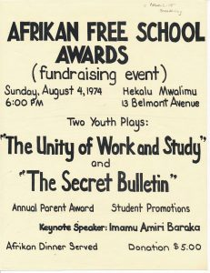 Flyer for an awards ceremony and fundraising event for the Afrikan Free School, an independent school established by Amina Baraka in 1967. One of the Committee For Unified Newark's (CFUN) most successful program, the African Free School was initially formed to improve literacy for children in Newark, and grew to earn national recognition. -- Credit: Newark Public Library