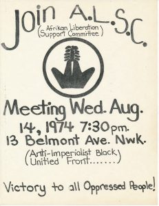 "Flyer for a 1974  meeting of the Afrikan Liberation Support Committee at the Congress of Afrikan People's Hekalu Mwalimu (""Temple of the Teacher""). The Afrikan Liberation Support Committee was a CAP initiative to support struggles for liberation from colonial powers in Africa, most notably in South Africa, Angola, and Rhodesia. -- Credit: Newark Public Library"