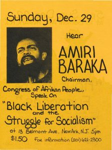 Flyer for a 1974 film screening and speaking event featuring Amiri Baraka, sponsored by the Congress of Afrikan People. The Congress of Afrikan People was founded in 1970 as a Pan-African, nationalist organization that promoted black political empowerment, with its headquarters in Newark, NJ. -- Credit: Newark Public Library