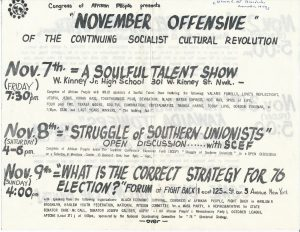 Flyer for upcoming events sponsored by the Congress of Afrikan People (CAP) in November 1975. The Congress of Afrikan People was founded in 1970 as a Pan-African, nationalist organization that promoted black political empowerment, with its headquarters in Newark, NJ. -- Credit: Newark Public Library
