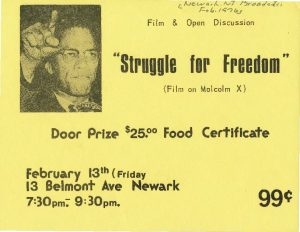 """Flyer for a 1976 screening of a film on Malcolm X titled """"Struggle for Freedom,"""" sponsored by the Congress of Afrikan People. The Congress of Afrikan People was founded in 1970 as a Pan-African, nationalist organization that promoted black political empowerment, with its headquarters in Newark, NJ. -- Credit: Newark Public Library"""